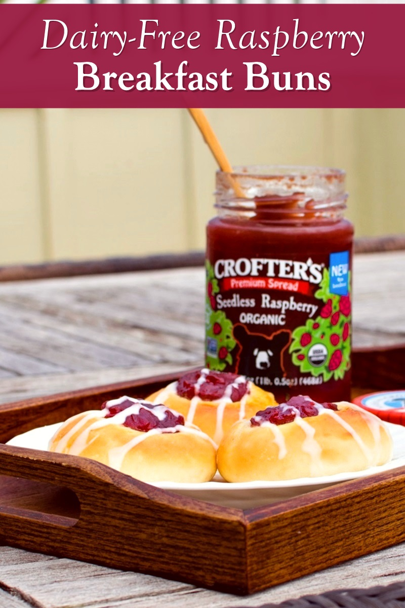 """Raspberry Breakfast Buns Recipe - dairy-free, nut-free, soy-free rolls with a jam """"thumbprint"""" and icing drizzle. Great for breakfast or afternoon tea! Can make egg-free and vegan."""