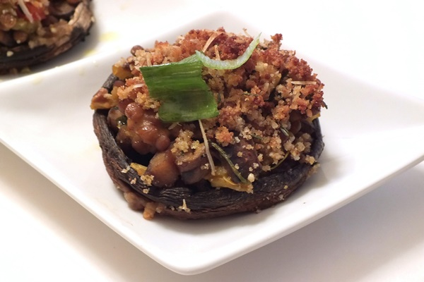 Tuscan Vegan Stuffed Mushrooms