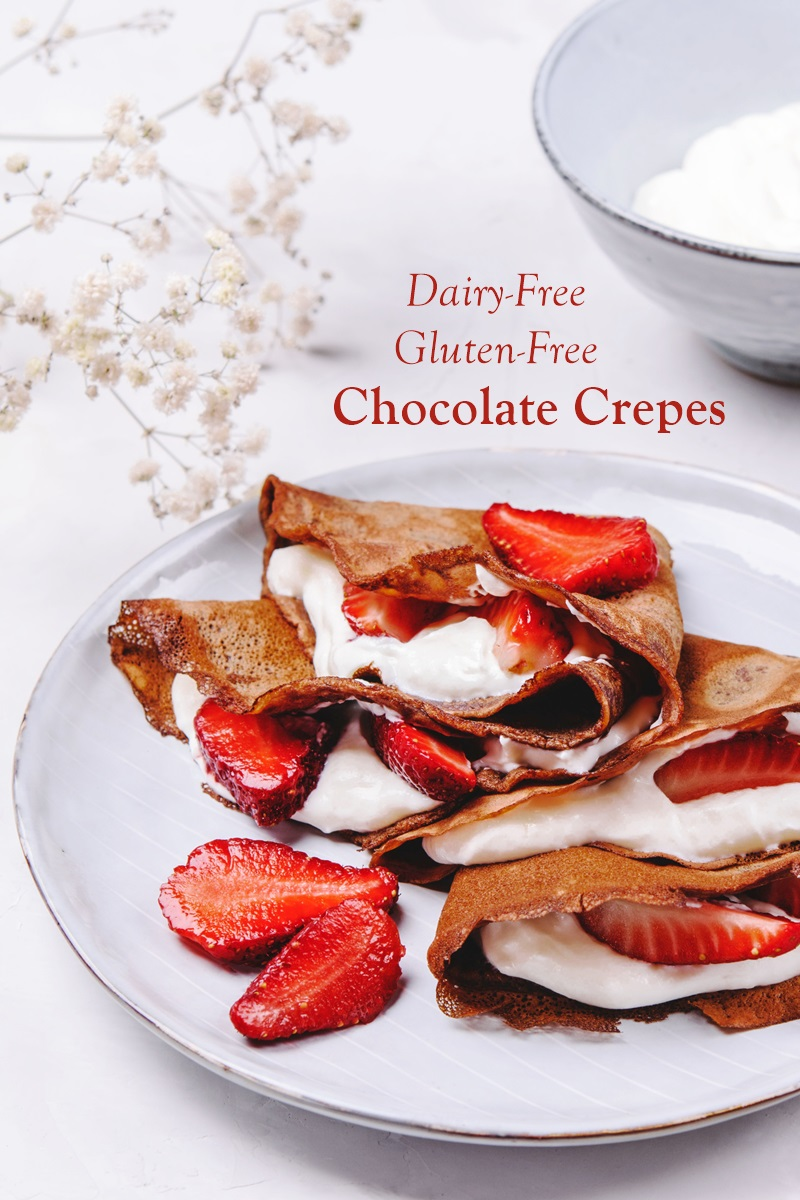 Dairy-Free Chocolate Crepes Recipe that's Gluten-Free Too! Unsweetened so you can add sweet fillings or enjoy them savory.