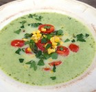 Cream of the Crop Asparagus Soup with Garlic-Roasted Spring Vegetables (Best Spring Soup!)
