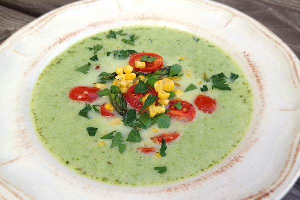 Cream of the Crop Asparagus Soup with Garlic-Roasted Spring Vegetables