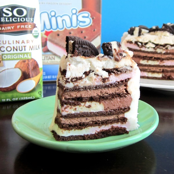 Vegan Ice Cream Sandwich Cake with Vanilla Whip Frosting and Chocolate Cream Filling (dairy-free recipe)
