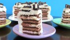 Vegan Ice Cream Sandwich Cake with Vanilla Whip and Chocolate Cream Filling