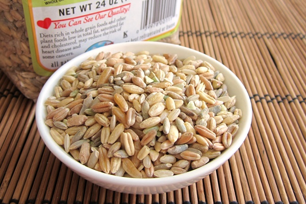 Bob's Red Mill Grande Whole Grains: hard red wheat, brown rice, oats, rye, triticale, barly, kamut, bukwheat and sesame seeds