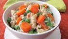 Nutritious Creamy Vegan Pasta Primavera with Spring Peas and Carrots