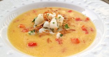 SPRINGsational Mango-Roasted Red Pepper Soup with Herbed Crab & Toasted Coconut