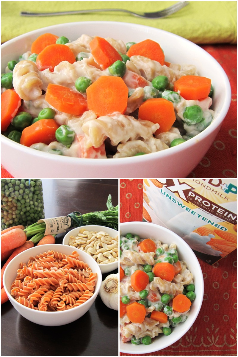 Healthy Vegan Pasta Primavera Recipe with Fresh Peas & Carrots (dairy-free, soy-free, gluten-free - I used high protein lentil noodles!)