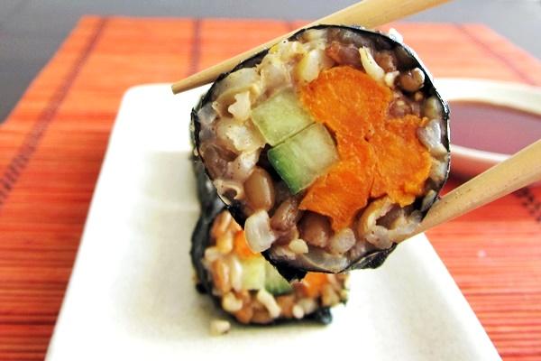 "Sesame-Ginger Whole Grain Yam Rolls: Nutritious vegan ""sushi"" rolls for sweet potato lovers (dairy-free, optionally gluten-free)"