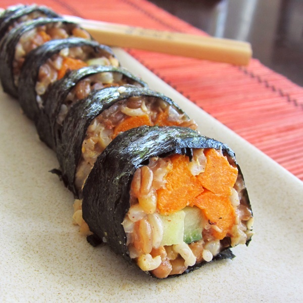 "Sesame-Ginger Whole Grain Yam Rolls: Nutritious vegan ""sushi"" rolls for sweet potato lovers (dairy-free, optionally gluten-free)"