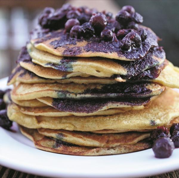 Zesty Gluten-Free Orange Pancakes with Wild Blueberry-Orange Sauce (dairy-free recipe)