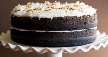 Dairy-free Dark Chocolate Layer Cake with Coconut Frosting Recipe (nut-free & optionally vegan)