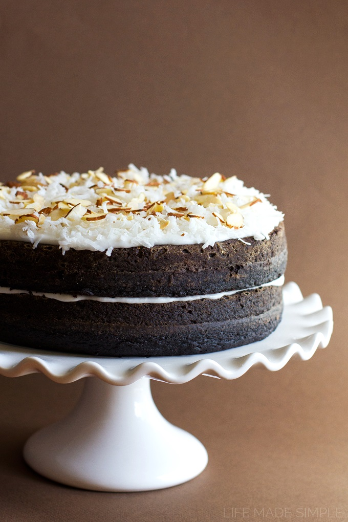 Dairy-free, Dark Chocolate Layer Cake with Coconut Frosting Recipe (nut-free & optionally vegan)