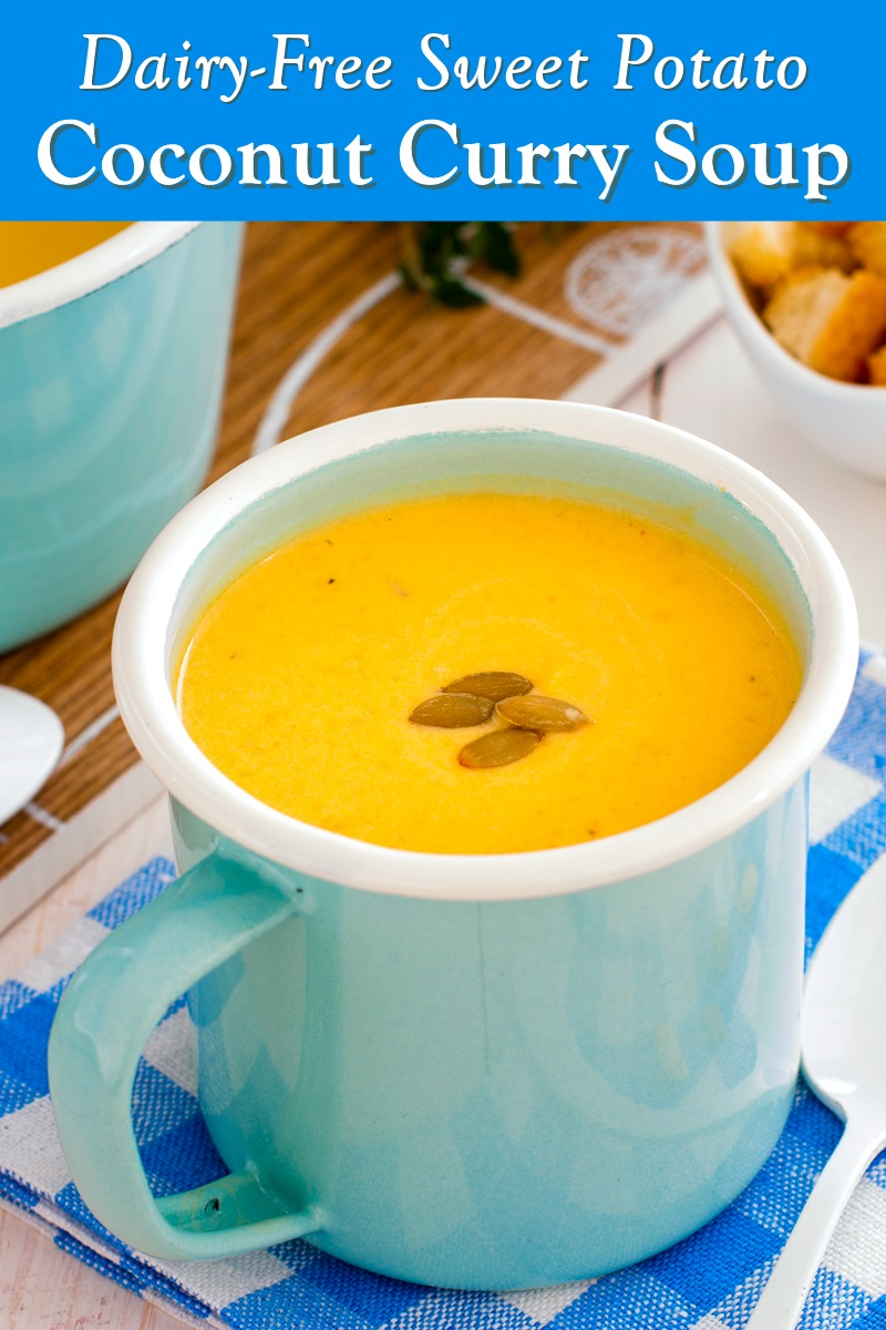 Sweet Potato Coconut Curry Soup Recipe with Warm Thai Flavors. Naturally Dairy-Free, Gluten-Free, Soy-Free, Plant-Based, and Vegan-Friendly.