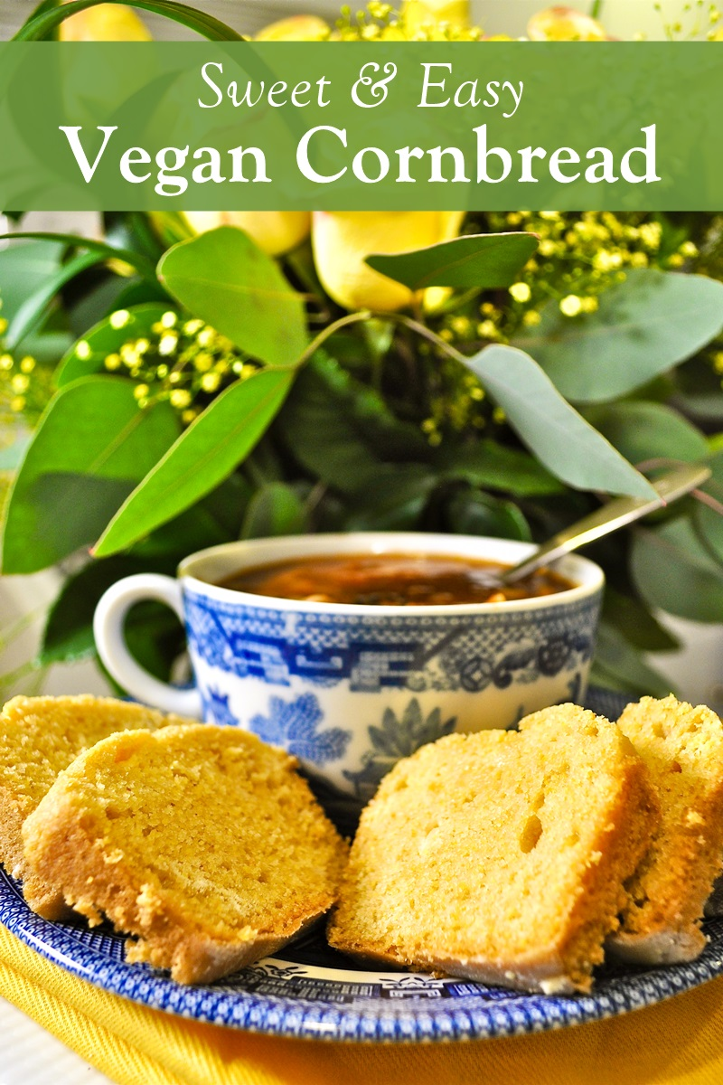 Sweet Vegan Cornbread Recipe - easy, dairy-free, egg-free, nut-free, and soy-free