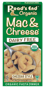 Road's End Organic Chreese Pasta Dinners - Dairy-free, allergy-friendly, organic alternatives to Kraft Mac 'n Cheese. Includes two gluten-free varieties. Pictured: Cheddar Mac & Chreese