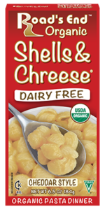 Road's End Organic Chreese Pasta Dinners - Dairy-free, allergy-friendly, organic alternatives to Kraft Mac 'n Cheese. Includes two gluten-free varieties. Pictured: Cheddar Shells & Chreese