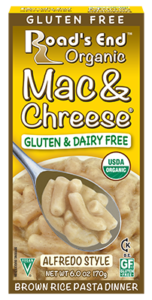 Road's End Organic Chreese Pasta Dinners - Dairy-free, allergy-friendly, organic alternatives to Kraft Mac 'n Cheese. Includes two gluten-free varieties. Pictured: Gluten-Free Alfredo Mac & Chreese