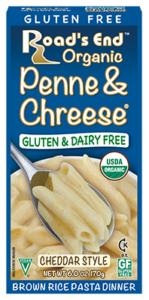 Road's End Organic Chreese Pasta Dinners - Dairy-free, allergy-friendly, organic alternatives to Kraft Mac 'n Cheese. Includes two gluten-free varieties. Pictured: Gluten-Free Cheddar Mac & Chreese