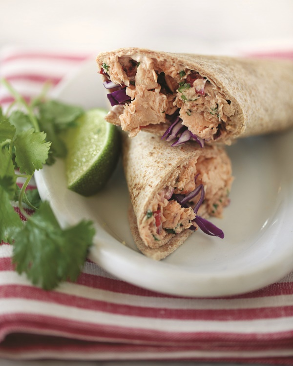 Chipotle Wild Alaskan Salmon Wrap - Spiced with adobe and made fresh with lime, cilantro, onions, and garlic (dairy-free, optionally gluten-free)