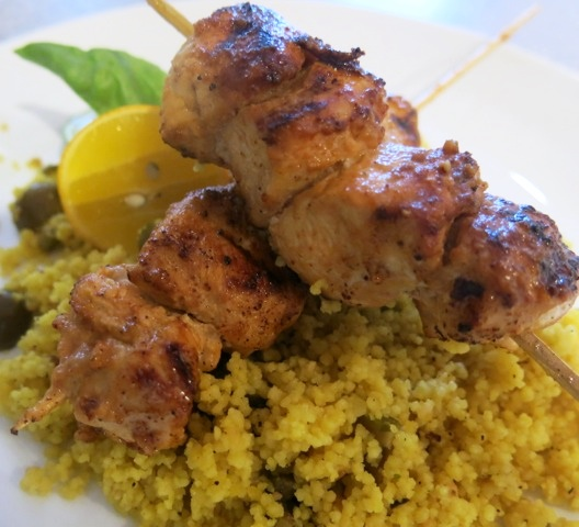 Chicken Brochettes with Almond Lime Sauce and Ripe Green Olive Couscous (dairy-free, optionally gluten-free)