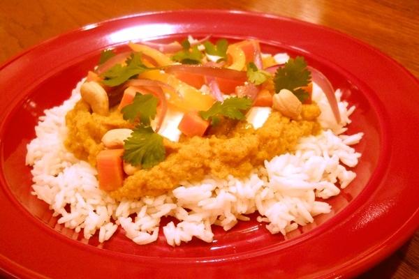 Apple Coconut Curry on Basmati Rice