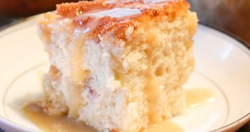 Prize-Winning Cinnamon Rhubarb Coffee Cake Recipe with Vanilla Sauce (Dairy-free and Vegan!)