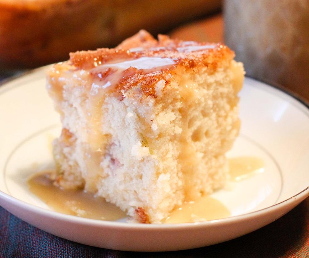 Prize-Winning Cinnamon Rhubarb Coffee Cake Recipe with Vanilla Sauce (Dairy-free and Vegan!)