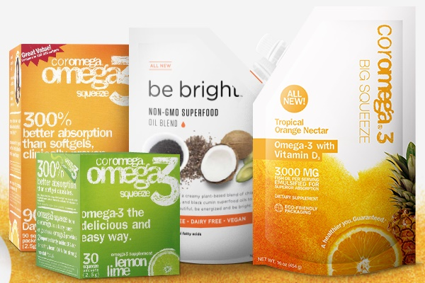 Dairy-Free Supplements - Coromega and Be Bright Omega Oils - Gluten-free, Vegan Option