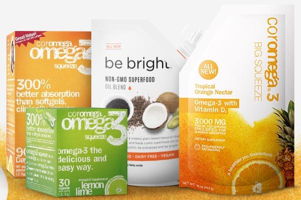 Dairy-Free Supplements - Coromega and Be Bright Omega Oils - Gluten-free, Vegan Option