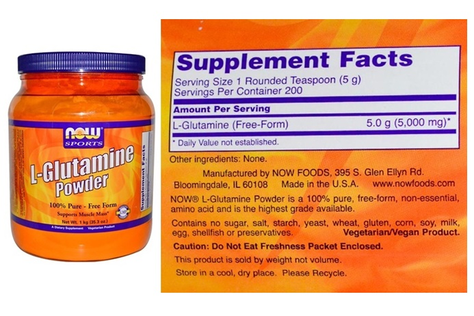 Dairy-Free Smoothie Supplements - L-Glutamine with Label