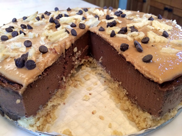 Frat Party Dairy-Free Cheezecake with Gluten-Free Crust - Peanut Butter Ganache sits atop a #dairyfree Chocolate & Beer Cheezecake Filling, all nestled in a #glutenfree Potato Chip Crust