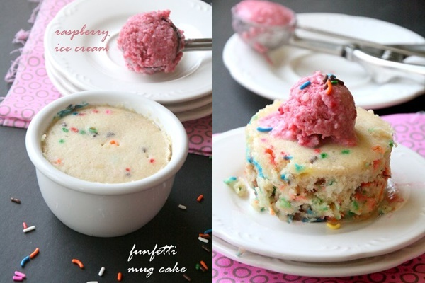 Vanilla Funfetti Mug Cake with Single Serve Raspberry Ice Cream - a dairy-free, vegan, and contest-winning recipe!