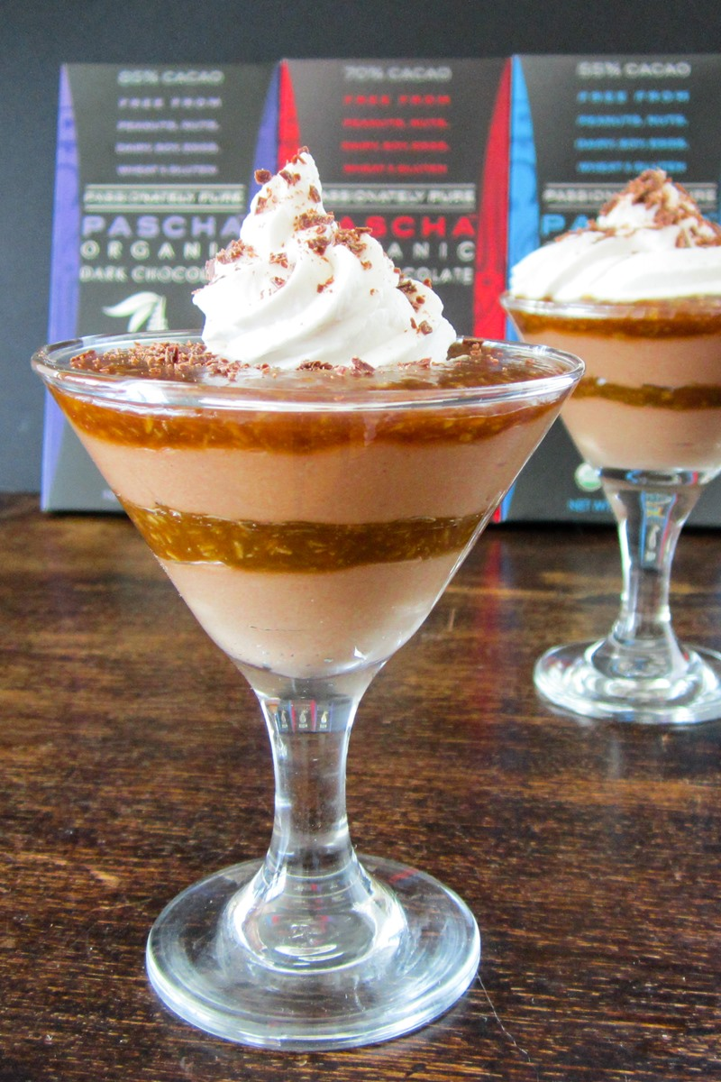Dairy-Free German Chocolate Mousse Recipe with Three Creamy Dairy-Free Layers: Decadent but Easy 4-Ingredient Chocolate Mousse, Vegan Coconut Caramel, and Vanilla Whip. Also plant-based, gluten-free, and top food allergy-friendly.