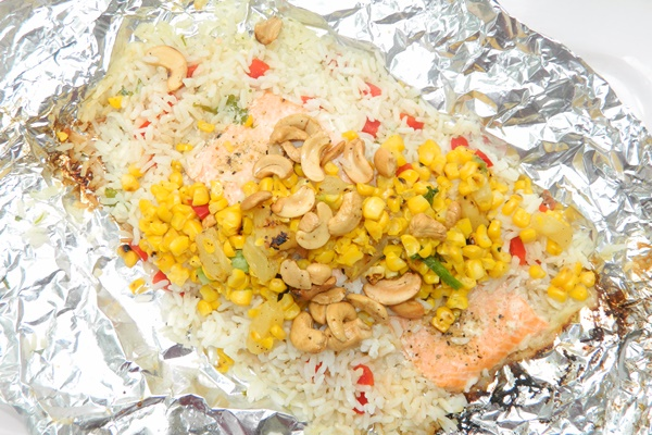 Grilled Salmon and Coconut Rice Packets with Sweet Corn Salsa (dairy-free, gluten-free)