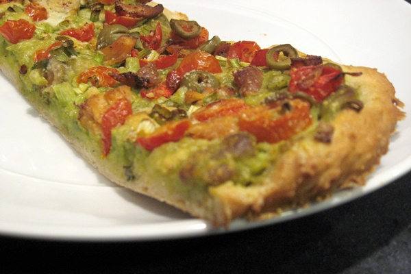 Dairy-Free Mexican Pizza with Avocado Cream Sauce (optionally gluten-free)