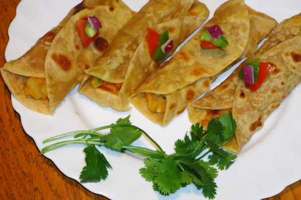 Indian-Spiced Vegetables in Homemade Whole Wheat Wraps - vegan, dairy-free, and healthy!