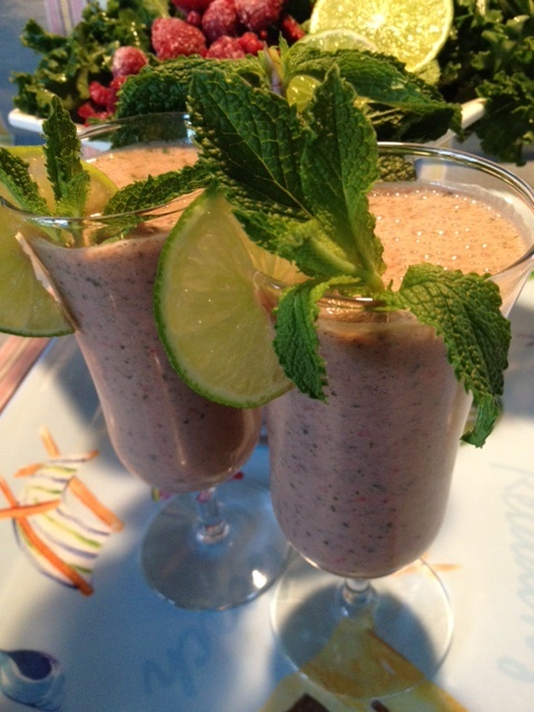 Raspberry, Lime And Mint Smoothie Recipe — Dishmaps