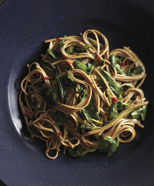 Spicy Soba Noodles with Wilted Watercress