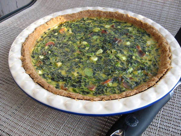 Spinach, Bacon and Green Onion Dairy-Free Quiche