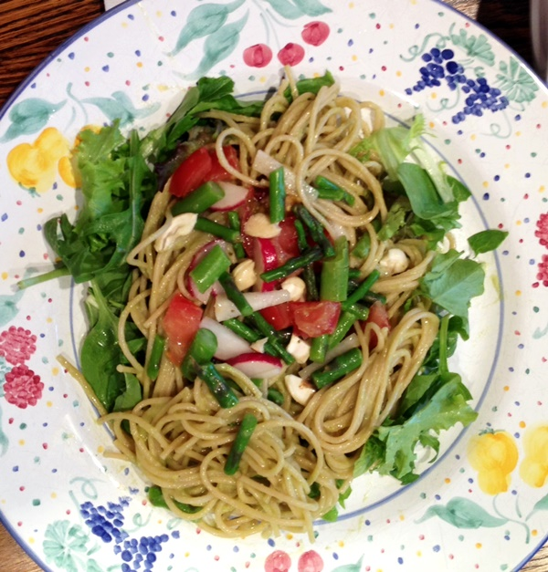 Spring Has Sprung Asparagus Noodle Salad - A healthy #dairyfree, #vegan, and optionally #glutenfree light meal