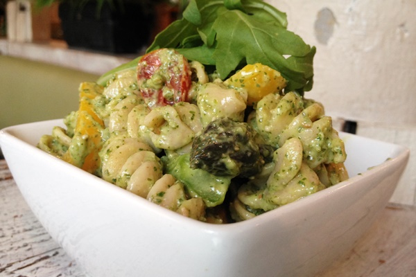 Spring Primavera With Arugula Pesto Cream Sauce