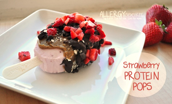 Chocolate-Covered Strawberry Protein Pops (vegan, dairy-free, gluten-free, allergy-friendly)