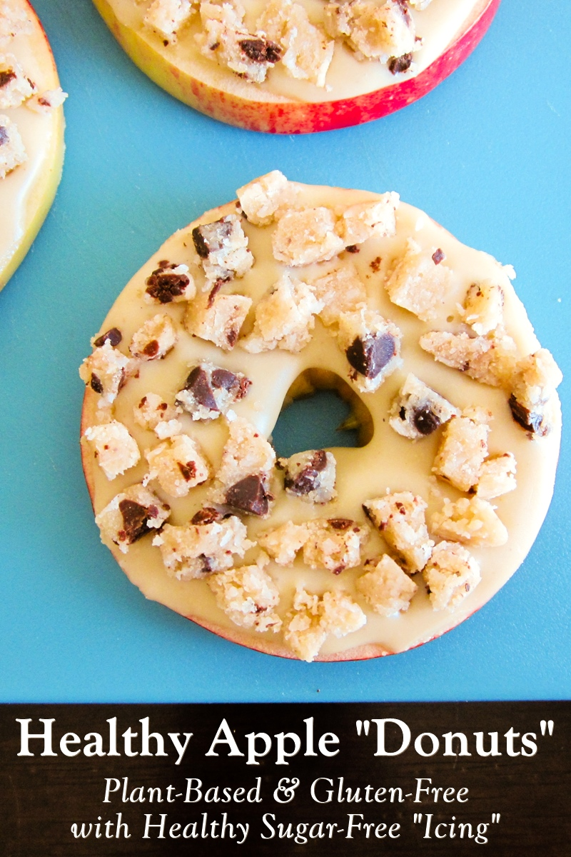 """Vegan Apple Donuts Snack with Healthy Cookie Dough Topping - also gluten-free, with nutritious sugar-free """"icing"""""""