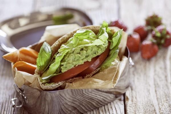 Avocado, Lettuce and Tomato Pitas with Fresh Basil (dairy-free, vegan, optionally gluten-free)