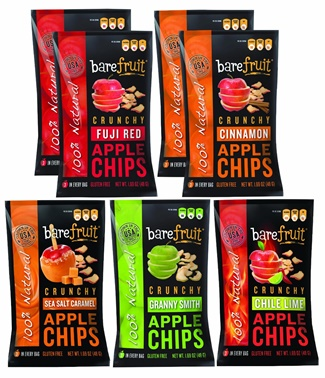 Bare Fruit Apple Chips - 5 All-Natural, Crunchy Flavors: Sea Salt Caramel, Chile Lime, Fuji Red, Granny Smith, Cinnamon (dairy-free, gluten-free)