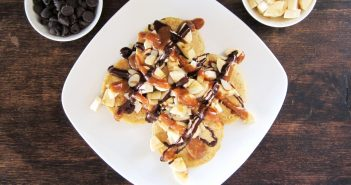 Chunky Monkey Pancakes - Gluten-Free Pancakes with Nutty Almond Drizzle, Easy Dairy-Free Chocolate Sauce, Bananas, and Sliced Almonds