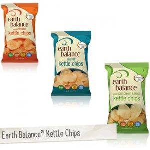 Earth Balance Kettle Chips - Vegan Cheddar, Vegan Sour Cream and Onion, Sea Salt (all dairy-free and gluten-free flavors!)