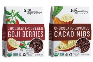 Essential Living Foods Chocolate-Covered Superfoods - Goji Berries and Cacao Nibs (organic, raw, vegan, dairy-free, gluten-free)