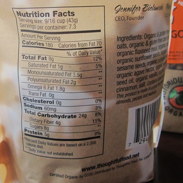 Giddy Up and Go Granola - Seriously Seedy Nutrition Facts