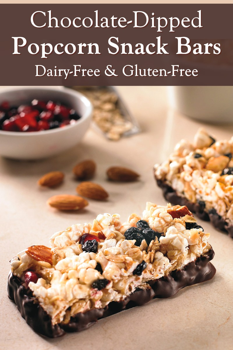 Popcorn Snack Bars Recipe with Optional Chocolate Dip - Dairy-Free, Gluten-Free, Soy-Free, and Nut-Free option.